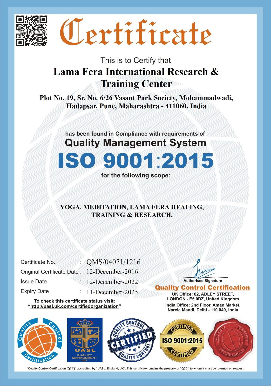 Lama Fera International Research & Training Centre:is India's